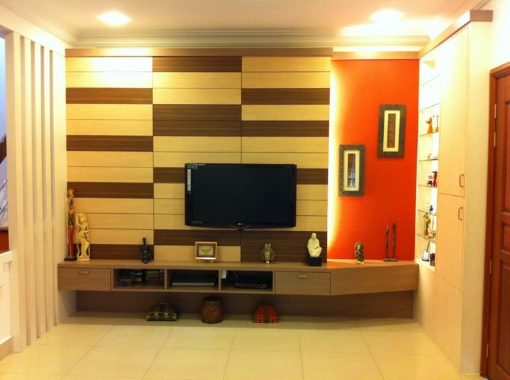 Simple Flat Screen Tv Wall Design With Creative Padded Wooden Wall