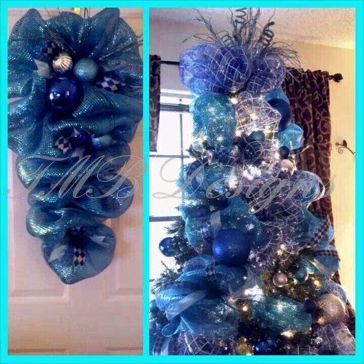 Royal Blue Christmas Ornaments Part - 27: Deco Mesh Swag U0026 Tree Design In Royal Blue , Teal U0026 Silver! Beautiful  Combination · Blue Christmas DecorChristmas ...