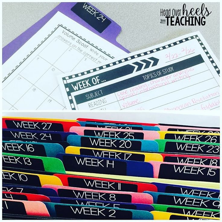 """Want a head start on next year's planning? Why reinvent the wheel? I created file folders for each week and run an extra copy of any resource I use to reference next year on that week. I also jot down notes on a planning template to make planning easier too. Lesson plan template and file labels included in my """"Teacher's File Cabinet."""" Link in profile. #getahead #worksmarternotharder #organization"""
