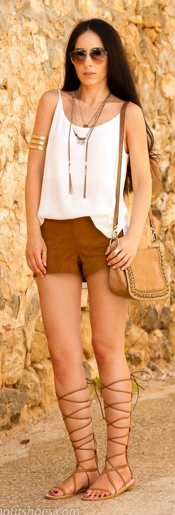 White Cami Camel Shorts Gladiator Flat Sandals by With Or Without Shoes