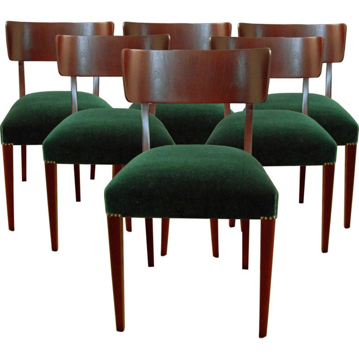 Set of six swedish art moderne dining chairs modern for Green dining room