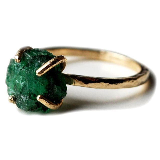 Birthstone Ring Cushion faceted Raw Green Emerald Gemstone 925 Sterling Silver ring Green Emerald Gold Rose Gold Fill Ring
