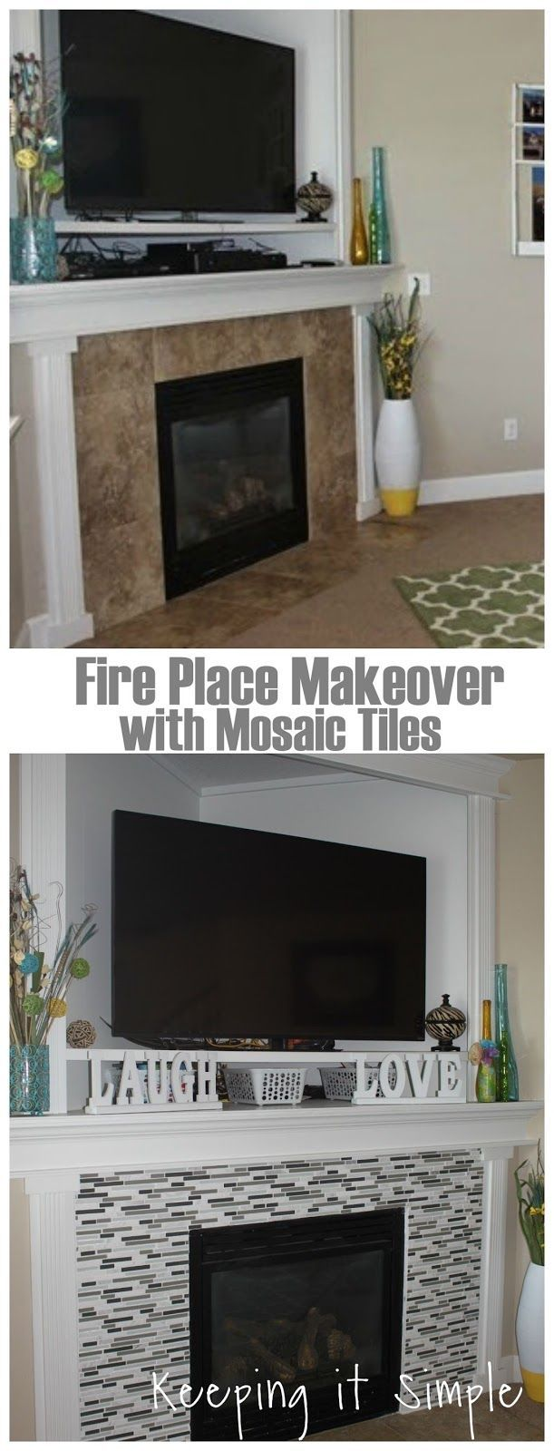 Your home improvements refference mosaic tile fireplace surround - Fireplace Makeover With Mosaic Tiles Fireplace Keepingitsimple