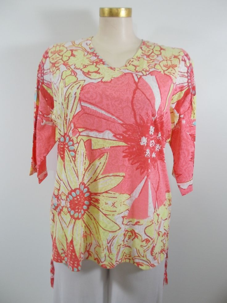 Lulu-B - Pink/Yellow/White Burnout 3/4 Sleeve V-Neck Side Drawstring Top
