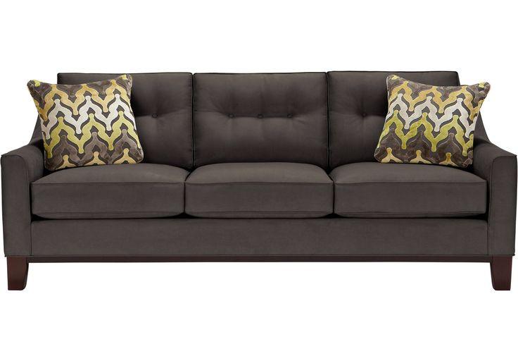"""El sofá de Montclair incorpora un estilo de moda con la comodidad y la durabilidad. Cuenta con un marco contemporáneo inspirado en mediados de siglo, finos detalles sobre su tapizado en suave Microfibra en elegante color """"slate"""" o gris. Los almohadones de acento incluidos tienen estampados en relieve en chenille en tonos brillantes de lima, …"""