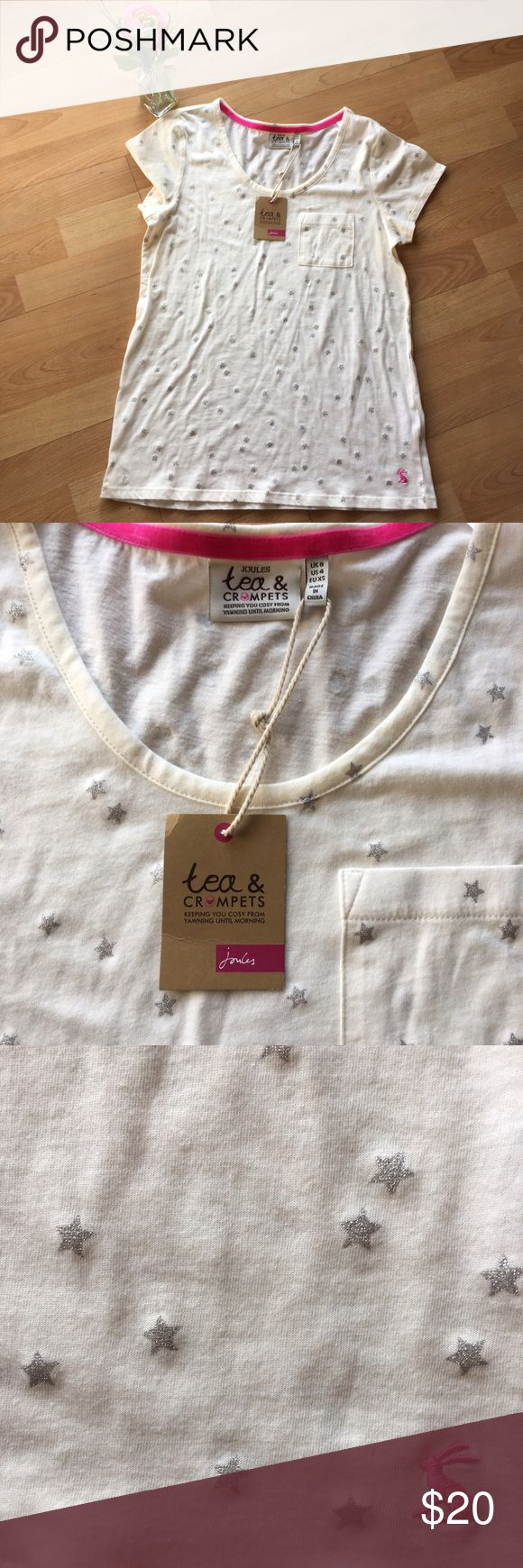 "Joules Tea and Crumpets Lounge Top Brand new and buttery soft! From Joules Tea and Crumpets line that promises to ""keep you cozy from yawning to morning."" This collection is crafted from lightweight fabrics that are perfect for balmy evenings and lazy Sunday mornings. Joules Tops Tees - Short Sleeve"