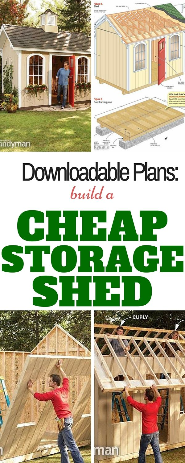 How to Build a Cheap Storage Shed: Printable plans and a materials list let you build our dollar-savvy storage shed and get great results.  http://www.familyhandyman.com/sheds/how-to-build-a-cheap-sto