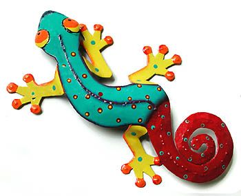 "Hand Painted Metal Gecko Wall Sculpture - Tropical Home Decor - 11""x19"""