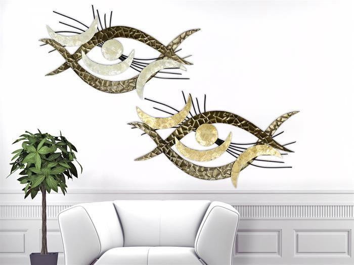 formano muschel auge metall wanddeko wohnzimmer modern moderne bilder hochwertige wanddekoration treppenhaus