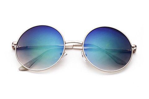 BAMM    Óculos de Sol Retrô Redondo Grande Semi-Espelhado com Armação de Metal