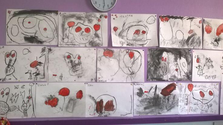 Prenten maken van uit het boek: Bastiaan en zijn ballon.  Tekenen met houtskool en rode accenten in verf.