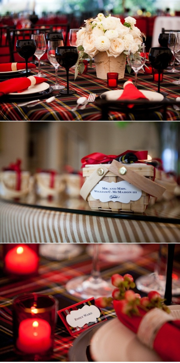 Paige, I love the plaid idea for Christmas...plaid ribbon, plaid runner on table cloths...so adorable...could even tie it into the bridesmaids dresses....love!!
