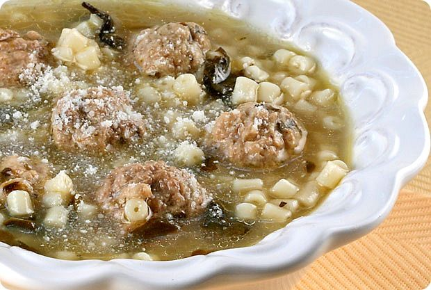 Minestra escarole soup with meatballs - Cooking with Nonna
