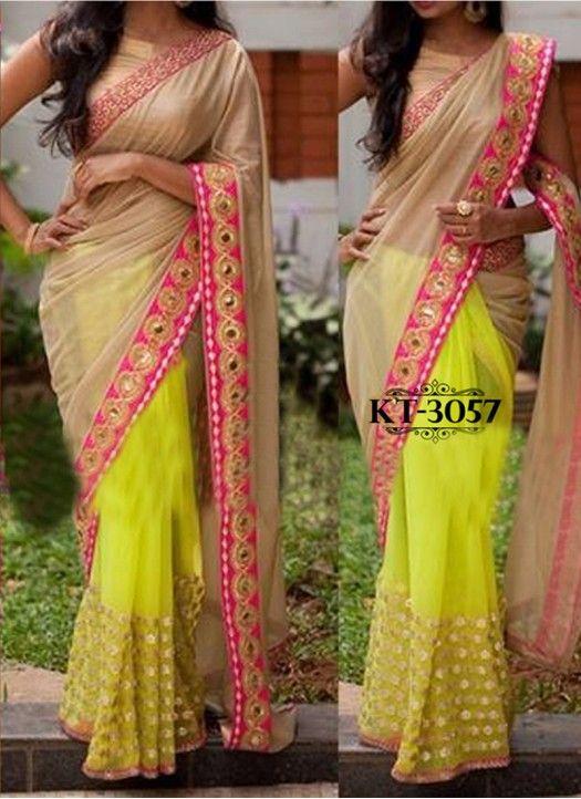 New Beige & Yellow Lycra Silk Georgette Designer #Saree#Latest#New_arrival#Beautiful #Designer