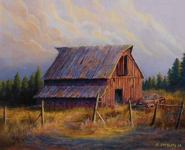 Grandpas Truck Barn Art Rustic Painting Barn Pictures