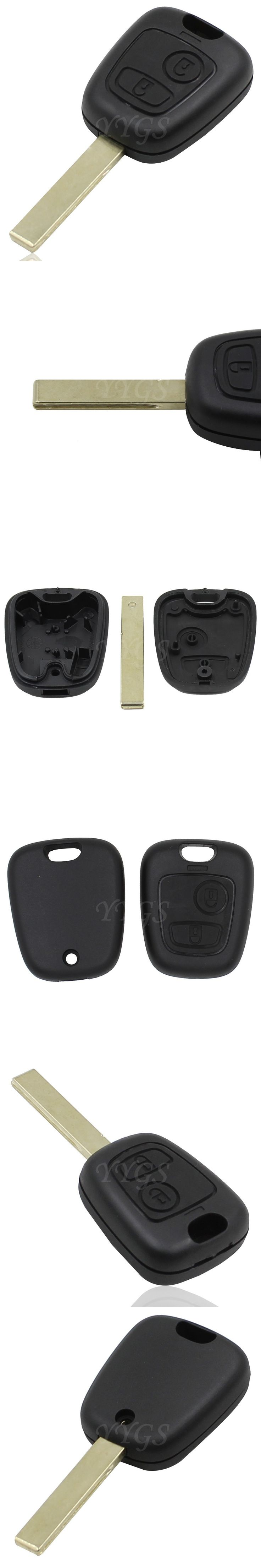 2 Button Remote Replacement Fob Key Shell Case Cover For Peugeot 1007 307 107 207 406 407 Uncut Blade With Groove
