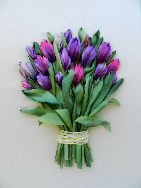 Beautiful bouquet of tulips, embroidered with hand dyed silk ribbons in bright purple and pink colors.    Unframed. You can set it in stylish