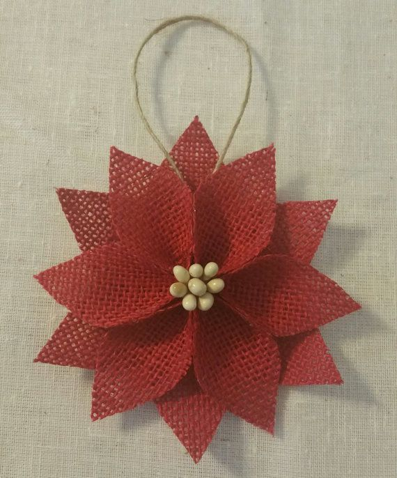 Each of my ornaments are completely handmade by me. Using burlap and ivory pip berries to make this sweet poinsettia Christmas ornament. Each
