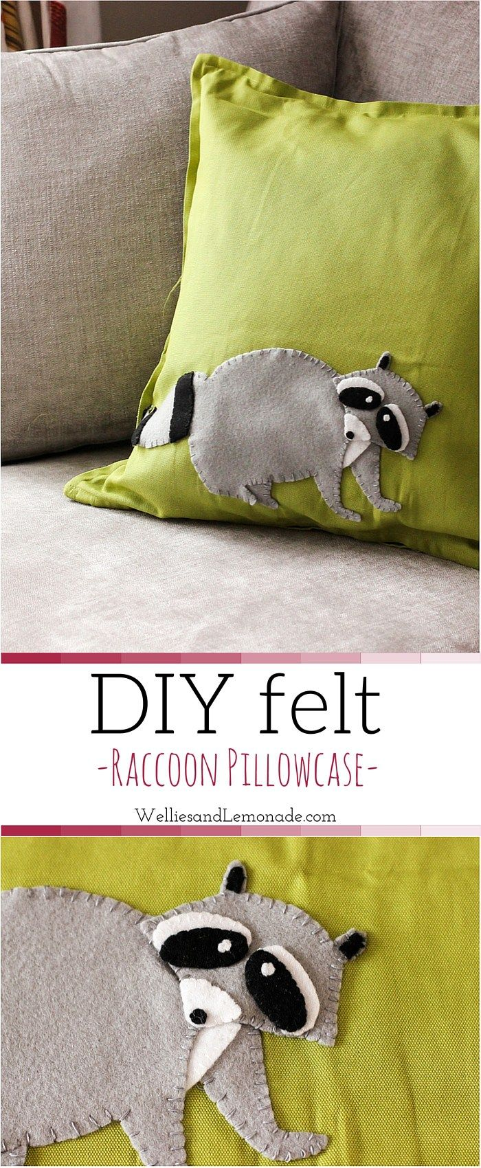 Easy raccoon craft cushion case which you can   make for your little one. Find more felt craft tutorials at http://www.welliesandlemonade.com