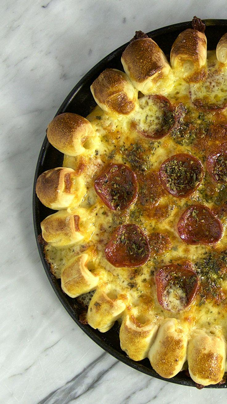 Cheesy Pop-Crust Pizza ~ Recipe | Tastemade