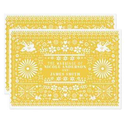 Mexican Picado Yellow White Paper Wedding Marriage Card - invitations custom unique diy personalize occasions