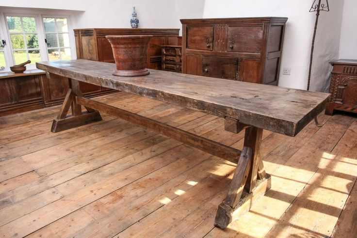 Late Gothic framed trestle table, Marhamchurch antiques
