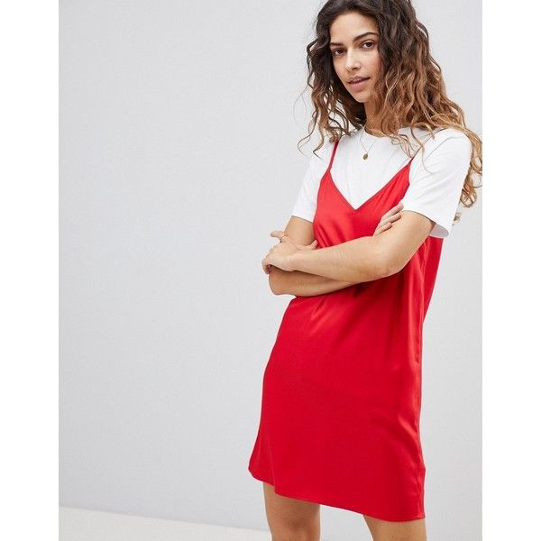 ASOS Mini Cami Slip Dress ($24) ❤ liked on Polyvore featuring dresses, red, red cami, v neck camisole, slip dresses, short mini dress and short dresses
