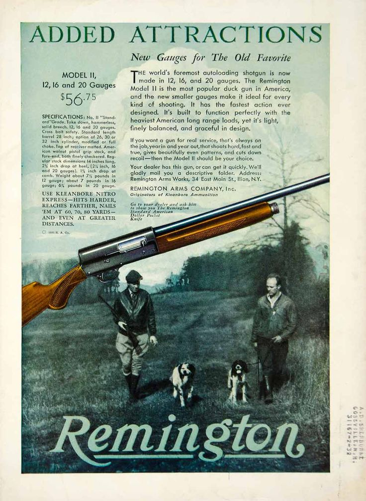 1931 color print ad for the Remington Model II autoloading shotgun available in 12, 16, and 20 Gauges that was made for duck hunting by the Remington Arms Company.