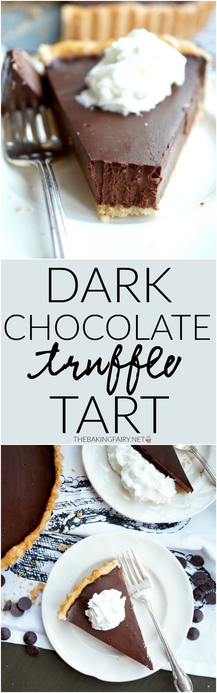 This Dark Chocolate Truffle Tart is the perfect comforting winter dessert. The filling tastes exactly like a creamy truffle! Sponsored by Dunkin' Donuts. #DunkinAtHome #BakerySeries #ad