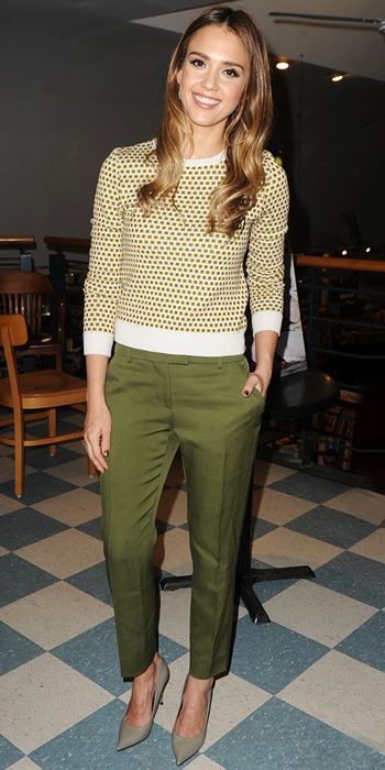 Jessica Alba in green separates that included cropped trousers and pointy-toe pumps.  |  InStyle.com
