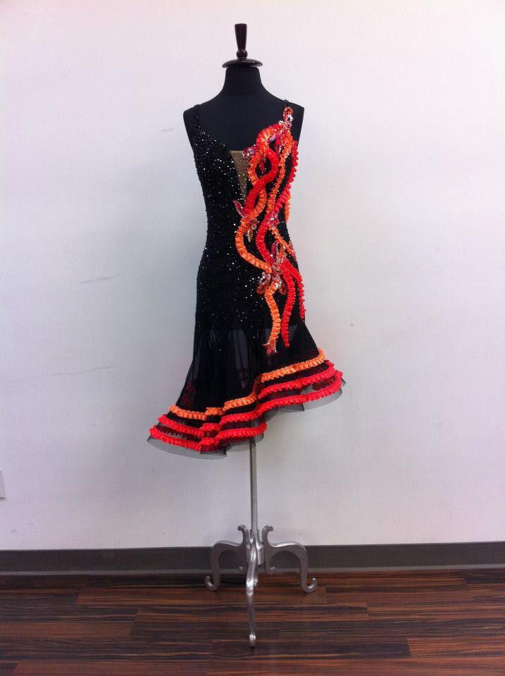 black red and orange diagonal latin dress