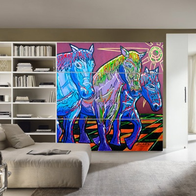 """#Paul_Eertman """"Horsepower"""" » Muurstickers Artwork ook op een #schuifdeur van een kast."""