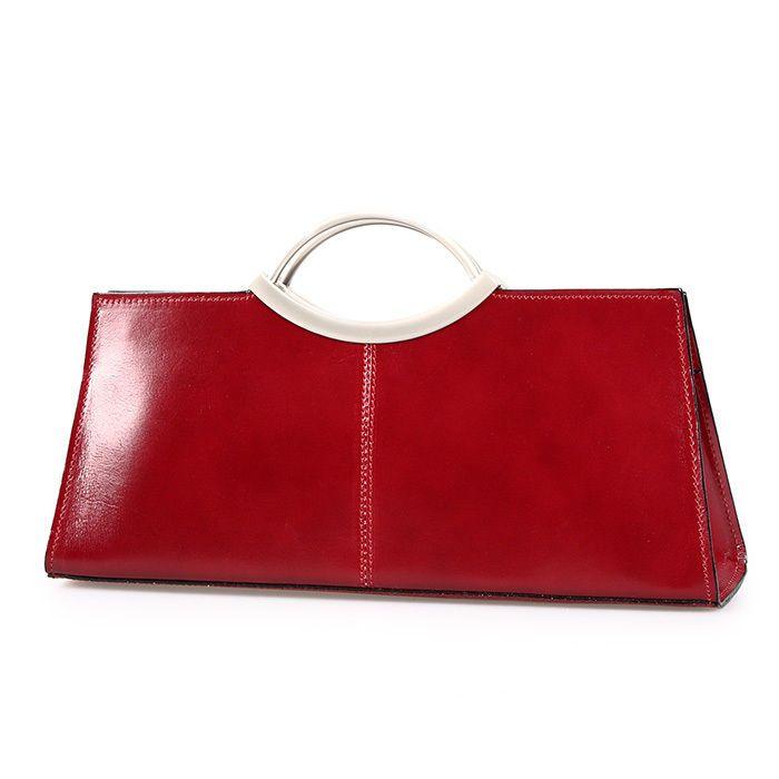 ital. Clutch Handtasche Ledertasche Abendtasche echt Leder Made in Italy rot   eBay