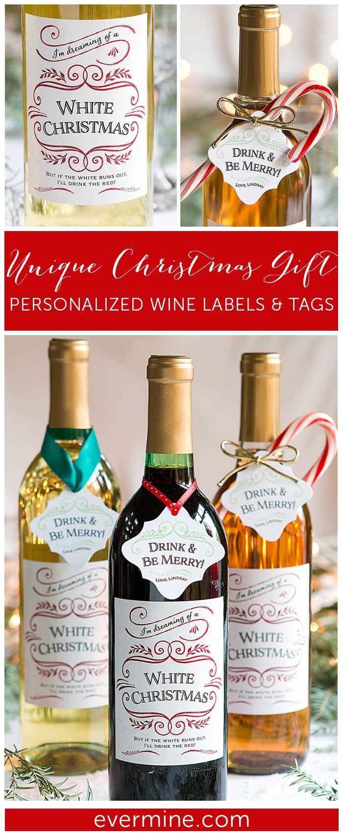 White Christmas Holiday Wine Labels + Label Wording Ideas