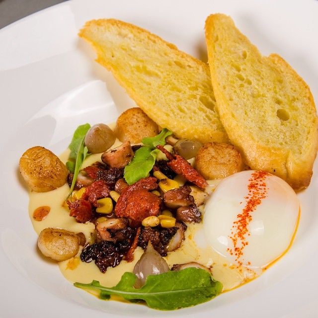 Sous vide Octopus with Chorizo, Morcilla, Corn, Sous vide Egg and ...