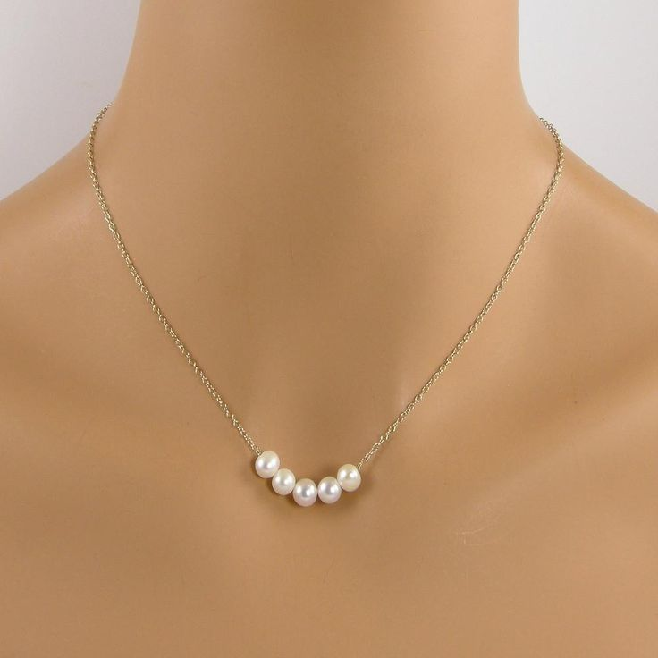 Five Pearl Gold Necklace, Floating Pearl Necklace