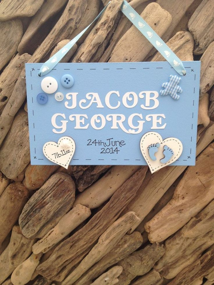 Personalised New Baby Boy Newborn Plaque Christening Keepsake Gift Name Weight