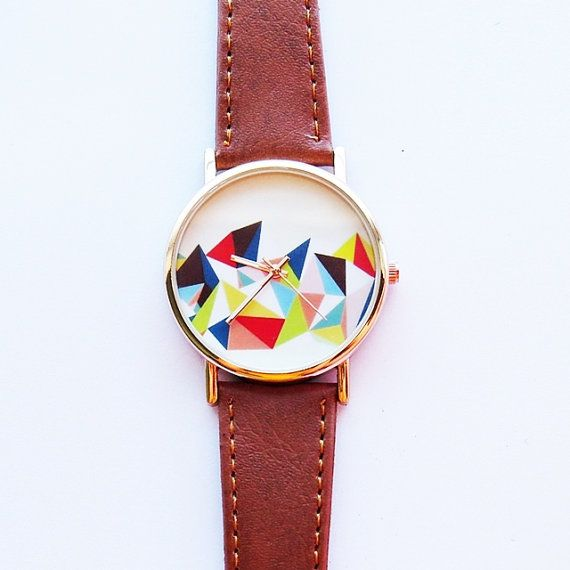 Colored Geometric Mountain  , Vintage Style Leather Watch, Women Watches, Unisex Watch, Boyfriend Watch, Men's Watch, Ladies Watch