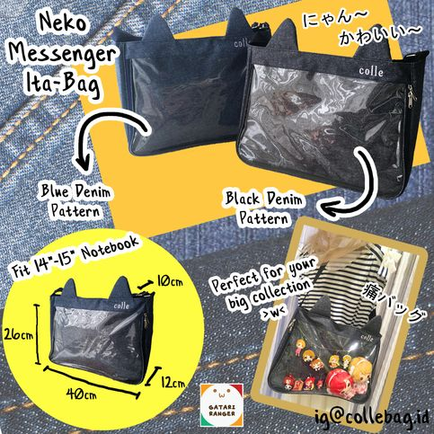 Nyaaannn~+Meow~    This+bag+is+super+cute+with+additional+cat+ears+on+top+of+it.+Made+with+canvas+and+Transparent+PVC+material+with+large+display+for+showing+your+collection.    This+bags+is+ready+stock+and+ready+to+ship+>w<
