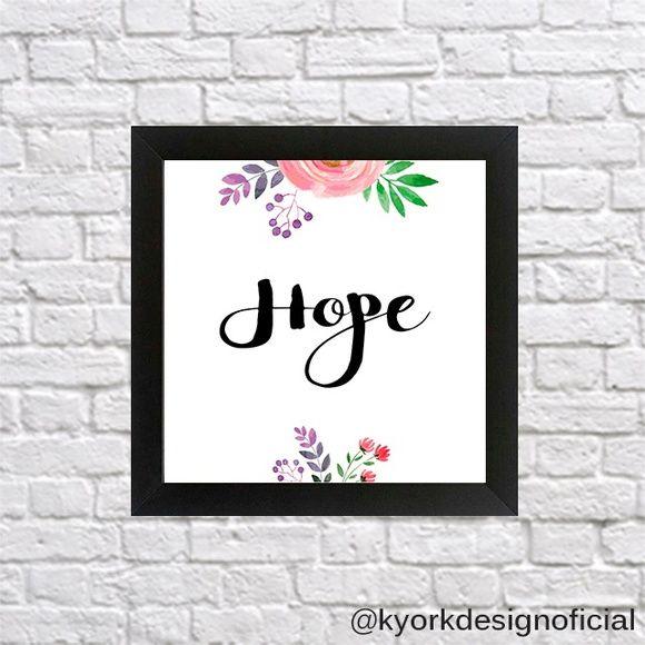 Quadro HOPE #quadros #quadrosdecorativos #hope #esperança #flores #decor #decorstyle #decoração
