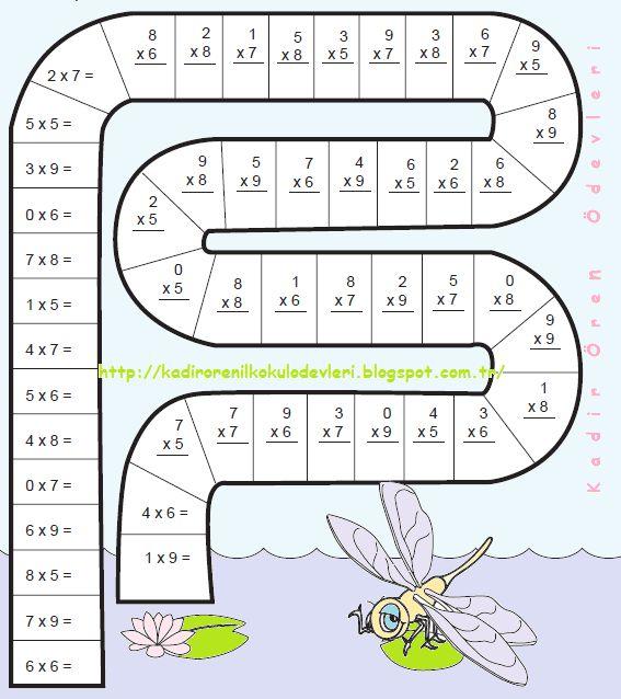 ilkokul ödevleri: 2. sınıf çarpma işlemi etkinliği 2