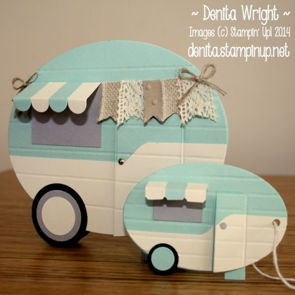 Vintage caravans by Denita Wright (Australia),Shabby chic caravan card & mini vintage caravan gift tag Pool Party, Very Vanilla, Smokey Slate & Basic Black  Original design of large caravan by Erica Cerwin Coastal Camper 'Whole Lotta Love' Project Planner http://pinkbuckaroodesigns.blogspot.com.au/p/project-planners.html