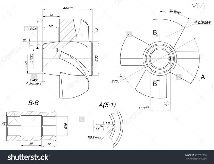 Expanded wheel sketch with different elements, span, lines, angle degrees and numbers. Vector image