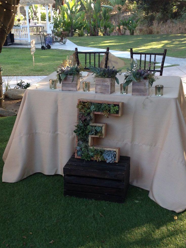 Succulent Sweetheart table weddings. Get married in Oceanside. www.visitoceanside.org/weddings