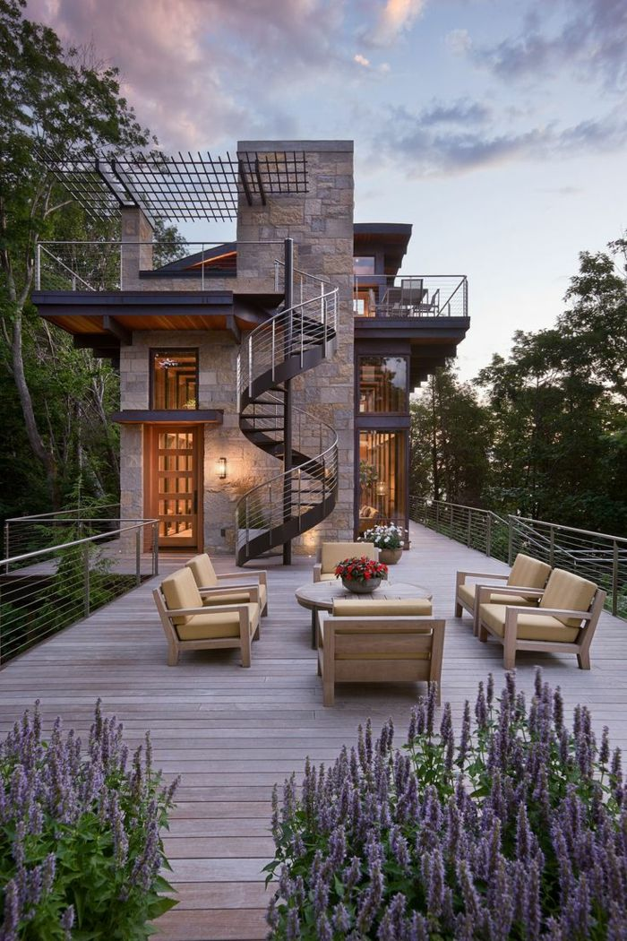1001  Ideas de originales escaleras de caracol con mucho estilo  Escalera  Arquitectura casas Casas modernas y Casas