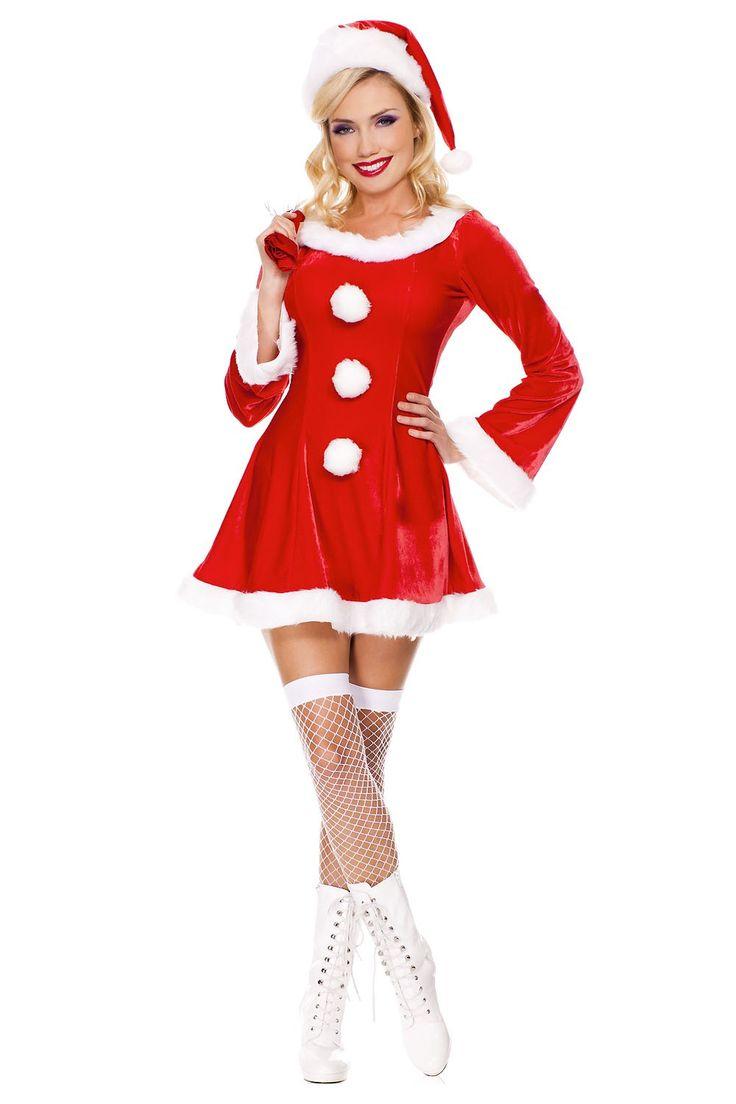 #MusicLegs #Holidayseason www.fifty-6.com ml70457 3 pc. Long sleeve marabou trimmed velvet dress Includes: santa sack and hat