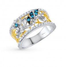 Кольцо, вставка:  фианит; фианит голубой; Серебро 925 пробы. 24561