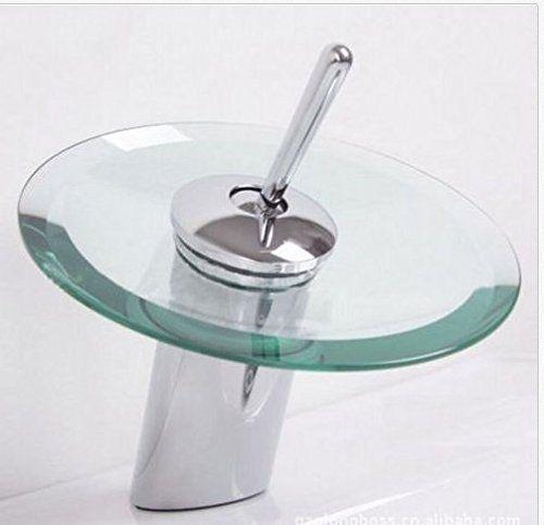 Modern Glass Widespread Waterfall Bathroom Faucet Sink Taps Water ...