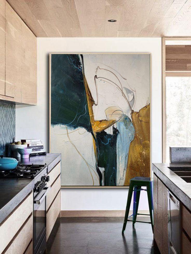 Original Abstract Painting, Minimalist Abstract Painting, Large Abstract Painting, Beige Painting Green Painting, Large Wall Canvas Painting
