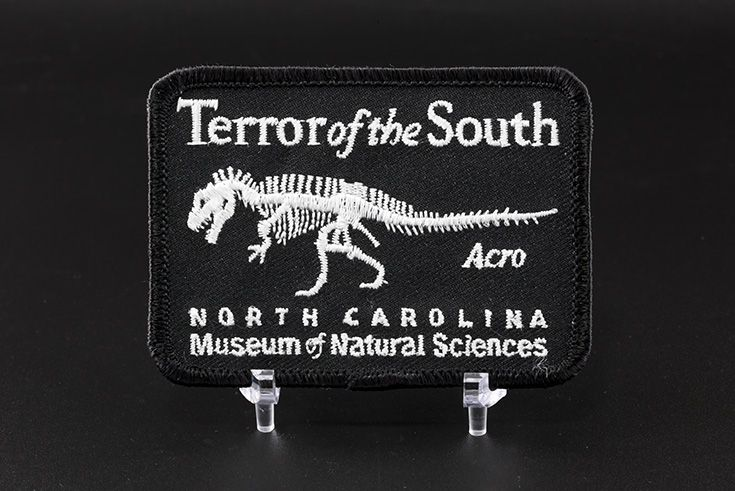 Terror of the South Embroidered Patch. Featuring the dinosaur Acrocanthosaurus. $3.